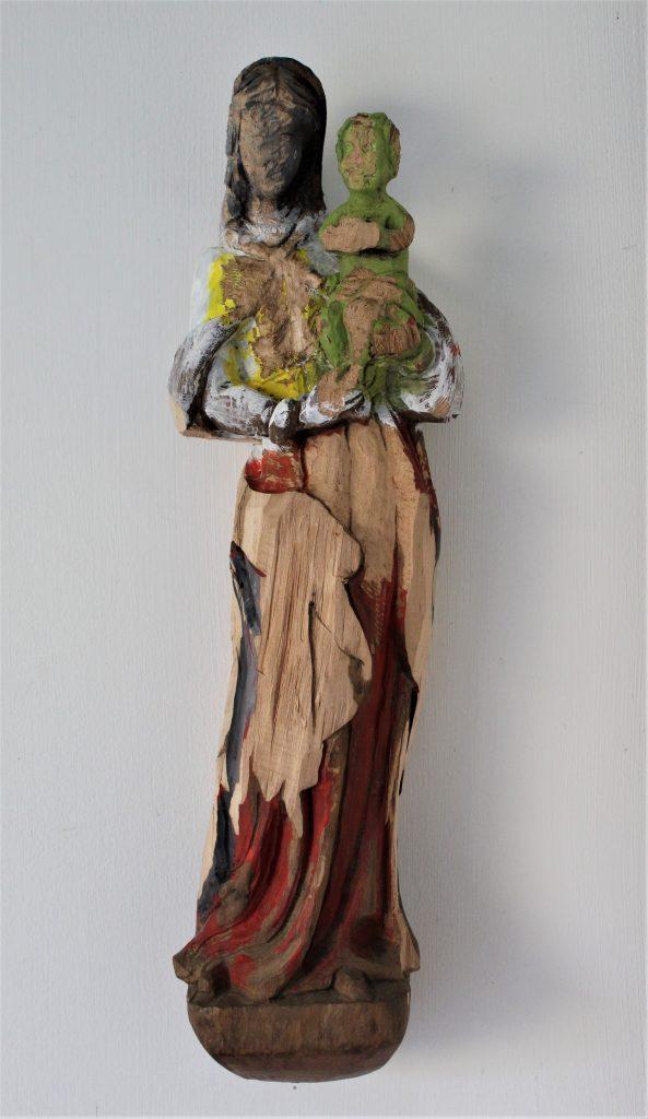 Andrea Grote: O.T. (Maria 1), aus der Serie O.T. (Maria), Holzfigur bearbeitet, Acrylfarbe, Leim, 2020
